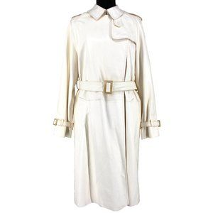 VTG Hermés White Leather Belted Trench Coat 36
